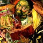Hyman Bloom, Rabbi with Torah, Oil on canvas, 1945.