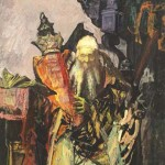 Hyman Bloom, Rabbi with Torah, Oil on canvas, 1955.
