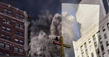 One of James Nachtwey's famous 9/11 images, with a portion of the 2001 version overlaid on the 2011 version. Source images via BagNews. Photos copyright 2001/2011 by James Nachtwey.