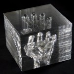 Michael Mittelman, hand.001 (Way after Rodin), 2013, stacked acrylic, 6 x 7 x 5 inches.
