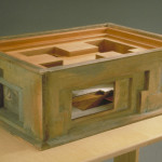 """Rosalyn Driscoll, House, 1993, Bronze, wood, leather, handmade paper, 8"""" x 25"""" x 17"""""""