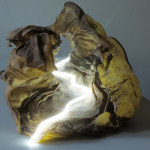 """Rosalyn Driscoll, Emptiness of Fire, 2010, Rawhide, neon, 12"""" x 41"""" x 17"""""""
