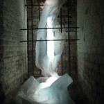 """Rosalyn Driscoll, Rivers of Hades: Meaninglessness 2011, Paper, wood, light, 6"""" x 2"""" x 6"""""""