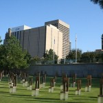 Views in and around the Oklahoma City National Memorial. Field of Empty Chairs