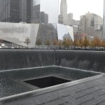 This is a view of one of the fountains located within the site of the World Trade Center, which was destroyed on September 11, 2001. The two fountains, one for each fallen tower, are titled Reflecting Absence and were designed by architect Michael Arad and landscape architect Peter Walker