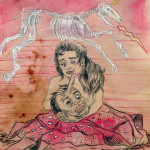 Amor no Muere, mixed media on paper, from the series Los Nuevos Guerreros (image courtesy of Carroll and Sons Art Gallery)