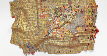 El Anatsui, New World Map, 2009, Found aluminum and copper wire. Private Collection. Courtesy of Jack Shainman Gallery, New York