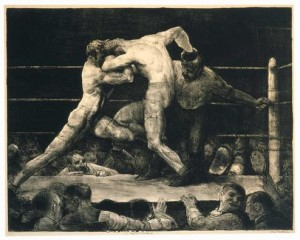 George Bellows, A Stag at Sharkey's. 1917 Lithograph 65.4 x 51.4 cm (sheet) The Museum of Fine Arts, Houston