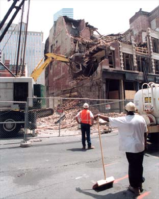 The demolition of 84 Kingston Street, early home to Oni Gallery.