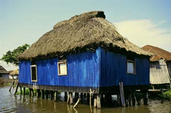 Paul J. Sieswerda, Blue Hut, Ganvie, archival digital print.