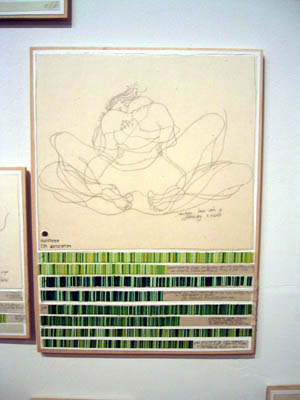 Danica Phelps, Making love with D. January 6, 2003 (5th Generation), pencil, ink and watercolor on paper mounted on wood.