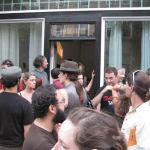 The crowd gathered outside MEME for a performance by GJYD.