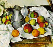Paul Cezanne, Pitcher And Fruits, oil on canvas, 1888-90.