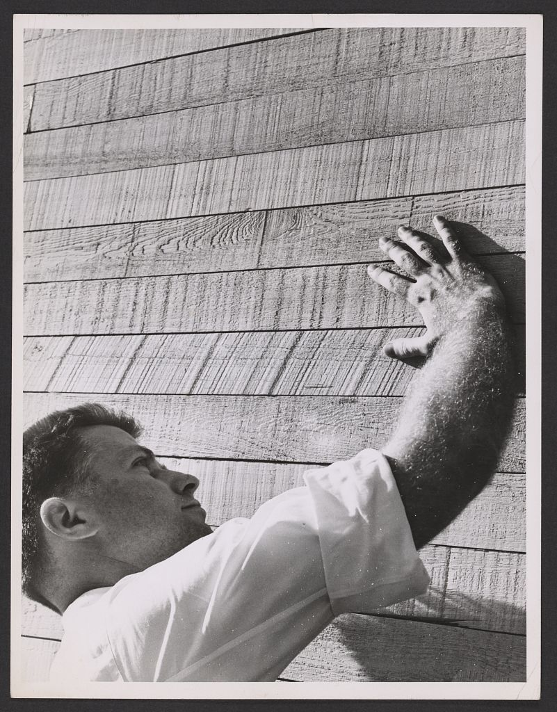 Paul Rudolph circa 1960 getting close to concrete. Image courtesy of the Library of Congress, Prints and Photographs Division