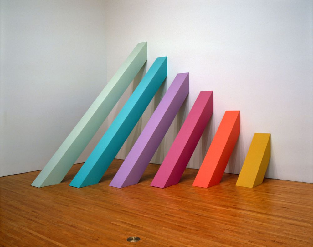 Judy Chicago (American, born 1939). Rainbow Pickett, 1965/2004. Latex paint on canvas-covered plywood, 126 x 126 x 110 in. (320 x 320 x 279.4 cm). Collection of David and Diane Waldman, Waldman Family Trust, Rancho Mirage, California.  © Judy Chicago. Photo © Donald Woodman