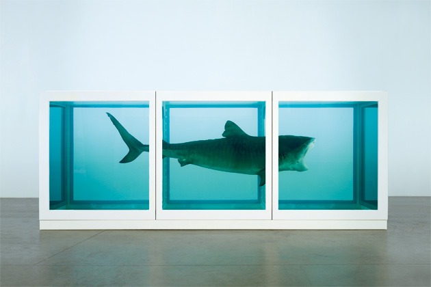 Damien Hirst; The Physical Impossibility of Death in the Mind of Someone Living; Glass, painted steel, silicone, monofilament, shark, and formaldehyde solution; 1991.  Photographed by Prudence Cuming Associates © Damien Hirst and Science Ltd. All rights reserved, DACS 2012
