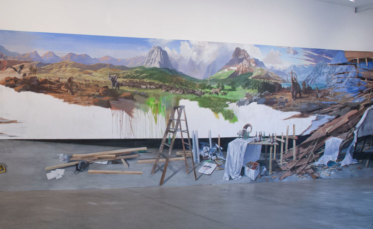 Addam Cvijanovic Discovery of America (installation detail ), 2012 Flash acrylic on Tyvek 15 x 65 feet Image courtesy of Postmasters Gallery