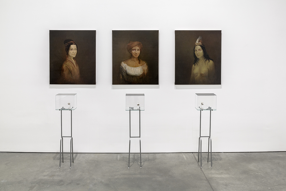 Adriana Varejão Eye Witnesses X, Y, and Z (Testemunhas oculares X, Y, e Z), 1997 Oil on canvas, porcelain, photography, silver, glass, and iron Three canvases, each 33 1/2 x 27 5/8 inches; installation78 3/4 x 98 1/2 inches overall Collection of Frances Reynolds