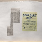"Louise Menzies ""Connecticut's first Jesus People rally,"" APC file: Jesus People. Poster  ""Religion: Read About the Heavy Solution,"" APC file: Jesus People newspaper clipping.  2014  Archival inkjet prints embedded in handmade paper"