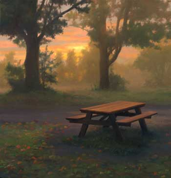 Scott Prior, Picnic Table, oil on panel, 2004