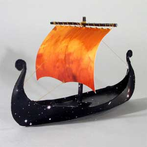 Laura Baring Gould, Oseberg Boat, Paper, 2004. At Boston Sculptors Gallery.