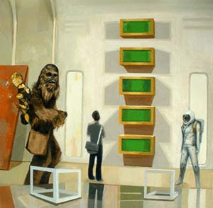 Chewbacca in Cloud City with Art, oil on canvas, 2003