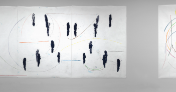 Esther Kläs, 'BA/JJ-J,' 2013 , oil-based ink and colored pencil on paper, 79 ½ × 177 inches (three panels) and Esther Kläs, 'BA/SUN,' 2013, colored pencil on paper, 81 ¼ × 59 inches, Courtesy of the artist and Peter Blum Gallery, New York, Photograph by Clements Photography and Design, Boston.