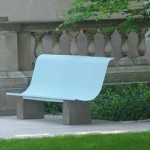 Bench created for Springfield Business Improvement District in 2003. Made from one painted sheet of perforated steel, attached to concrete legs. The S-curve designates Springfield, MA.