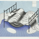 Louise Bourgeois, Blue Bed, Etching and aquatint in colors, 1998.