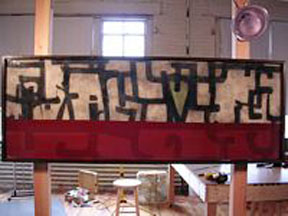inside the studio of Timothy Kaddish in Fort Point Channel