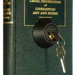 an example of Jim Kalambokis's alterted books, Self-Titled #1a, Legal Protection of Literature Art and Music, dead-bolt lock, 200