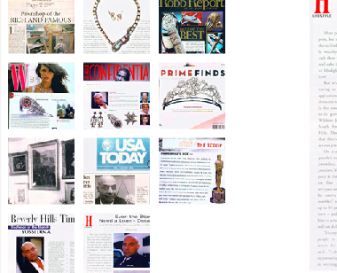 Snippet from The Dina Collection's website, featuring Yossi Dina's recent press coverage.