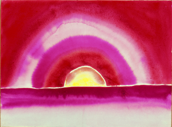 Georgia O'Keeffe, Sunrise, 1916. Watercolor on paper, 8 7/8 x 11 7/8 in. (22.5 x 30.2 cm). Collection of Barney A. Ebsworth © 2009 Georgia O'Keeffe Museum / Artists Rights Society (ARS), New York