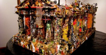 Peter Waite, Temple, 2008. Mixed media: studio detritus, paint scrapings, found objects, personal artifacts, junk, etc.