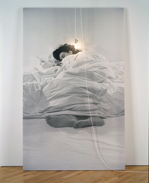 Annette Lemieux, Sleep Interrupted, Water-based ink on canvas, light fixture, 1991.