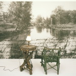 Annette Lemieux, The Great Outdoors, Water-based ink on canvas, Adirondack chair, table, lamp, 1989