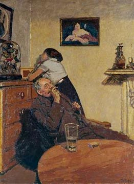 an example of Walter Sickert's work, Ennui painted in 1913. Image courtesy of the Tate Gallery, London