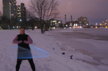 Publicity shot for Water Dances: An Urban Ritual, a public hoop dancing event performed by the Hula Hoop Light Show