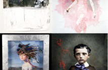 of work from the artists (clockwise from top left): Lance Richbourg, Tarrah Krajnak, and Jennifer Koch