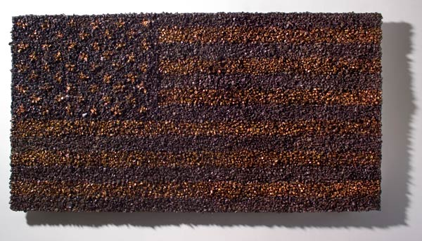 Dave Cole, Bullet Flag, Recovered Bullets and Bullet Fragments, 2008.