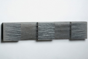 Eva Hesse, Metronomic Irregularity III, paint and Sculp-Metal on wood with cotton-covered wire, 1966.