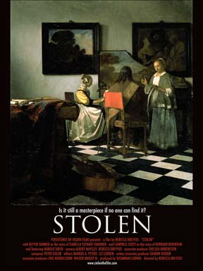 Poster for the Dreyfus documentary Stolen, which features The Concert Vermeer - one of the paintings stolen from the Gardner Museum in 1990.