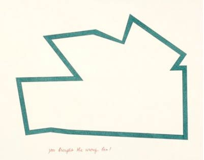 Guy de Cointet, You brought the wrong box!, ink and pencil on Arches paper, 1982.