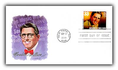 USPS issued postcard, celebrating the work of Meredith Wilson, writer of the Music Man and composer of the musical's theme, Seventy-Six Tombones