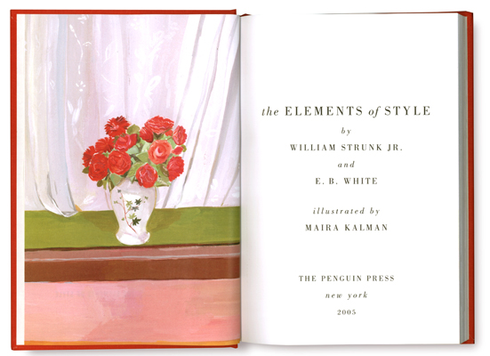 The intro page from Elements of Style, Kalman's book that was released in 2005.
