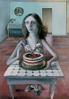 Shira Avidor, Julia with Cakes, oil on panel, 2006.