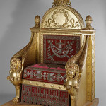 François-Honoré-Georges Jacob-Desmalter, Throne, Carved, and gilded wood, covered in red velvet with silver embroidery, 1805, 160 x 110 x 82 cm . Embroidery by Picot, Designed by Bernard Poyet. Musée des Arts Décoratifs, Paris (14421 A), Courtesy of the American Federation of Arts.