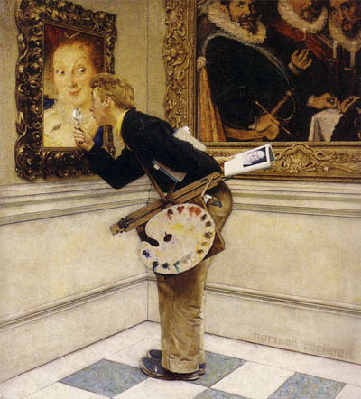 Norman Rockwell, Art Critic, Oil on canvas, 1955. Cover for The Saturday Evening Post, April 16, 1955. (Courtesy of The Norman Rockwell Museum).