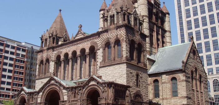 Created by architect H.H. Richardson, Trinity was the first example of the Richardsonian Romanesque style, which was later used in churches, city halls and county courthouses across America. Image via Wikimedia Commons user: MatthiasB