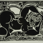 David C. Driskell, Reclining Nude, 2000, woodcut, AP, 9 1/4 x 11 1/4 inches, collection of the artist. � David C. Driskell, 2007.